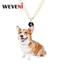 WEVENI Acrylic Cute Welsh Corgi Pembroke Dog Necklace Pendant Chain Choker Trendy Animal Jewelry For Women Girls 2018 Gift Pet