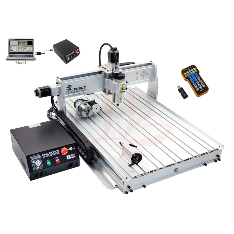 LY 8060Z-USB 4 axis 2.2KW CNC machine with mach3 remote control mini CNC router free tax to EU 3d cnc router 3040z usb mach3 control cnc engraving machine free tax to eu countries