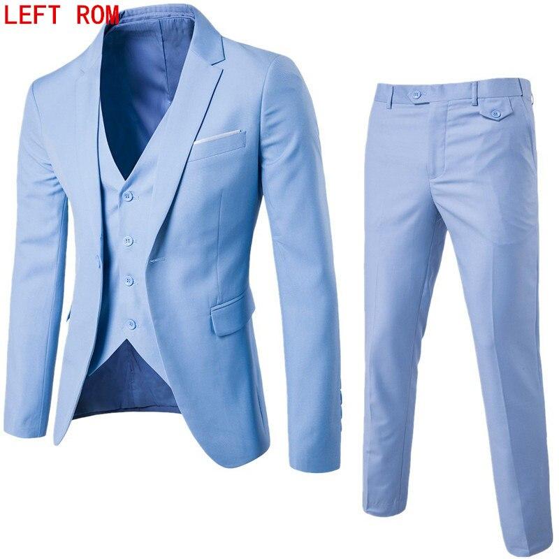 (Chaqueta + Pantalones + chaleco) los hombres de lujo de la boda traje masculino Blazers Slim Fit trajes para hombres traje de negocios Formal partido Negro Azul clásico