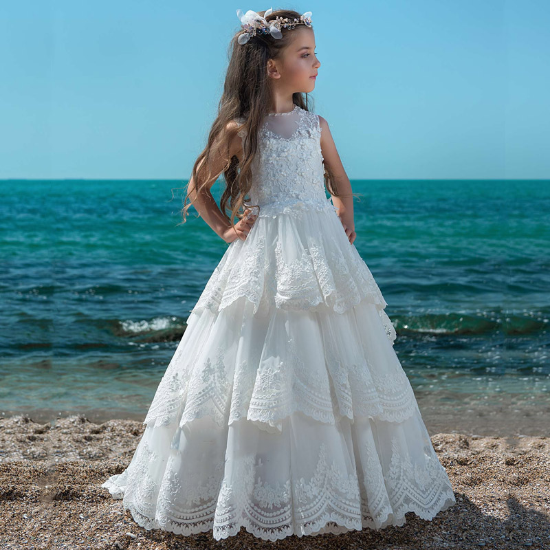 New   Girls     Dresses   Lace Appliques Sheer O Neck   Flower     Girl     Dress   Kids First Communion Gown Princess   Dress   Size2-16Y
