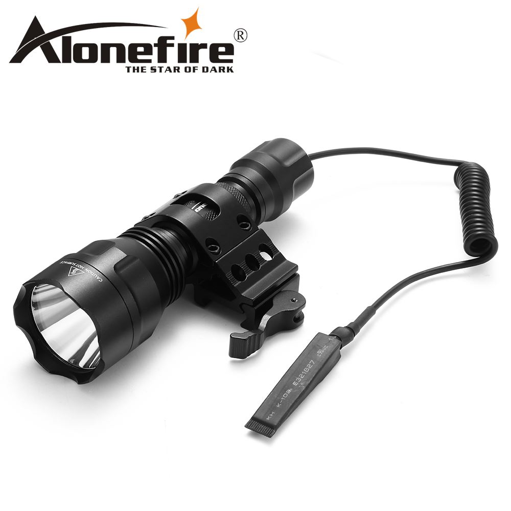 AloneFire C8 CREE XM-L L2 T6 LED Tactical Flashlight Torch Outdoor Airsoft Rifle Scope Shotguns Light 18650 Rechargeable Battery