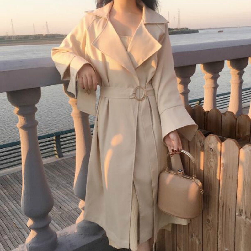 Women Autumn Windbreaker A-line Long   Trench   Coat with Belt Big Notched Collar Vintage Long Sleeve Korean Plus Size Slim Elegant
