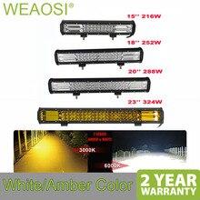 Высокая Мощность 7D 3 ряда светодиодный свет бар Offroad Combo Луч 15 «18» 20 «23» светодиодный свет работы бар 4×4 грузовик автомобиля 12 v 24 V белый янтарь