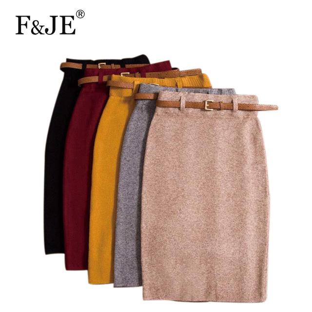 Alta Calidad Faldas Otoño invierno Las Mujeres de Cintura Alta de La Rodilla-longitud Ocasional de Punto Lápiz Falda Elegante Falda Larga delgada