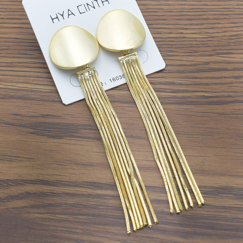 EKUSTYEE 8cm Long Tassel Earrings for Women Gold Color Cute Bohemian Drop Earrings Long Dangle Earrings Fashion Jewelry
