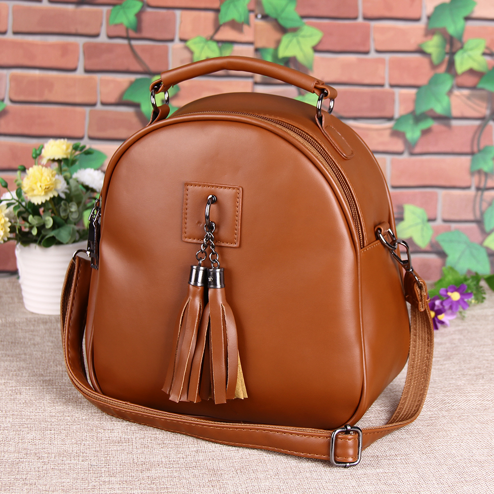 New Fashion PU Leather Backpack Bolsa Casual Students School Bags for Teenage Girls Lightweight Tassel