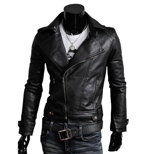 Free Shipping Fashion Leather Jacket Men Motorcycle Slim Fit Long Sleeve Men coat Black Coffee JPPY04