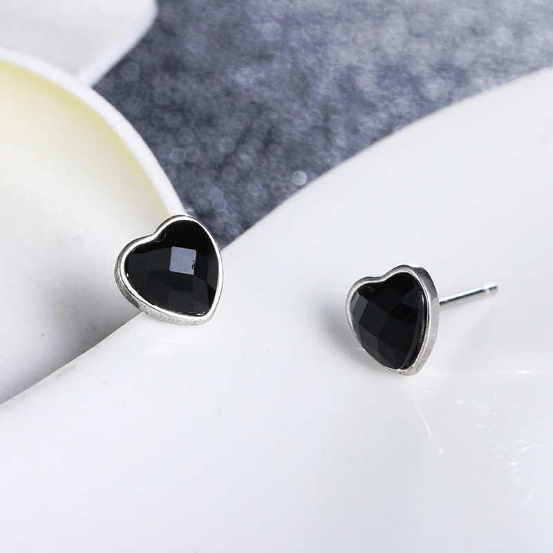 100% 925スターリングシルバーロマンチックな愛のハート黒水晶女性ladies's tudイヤリングジュエリーギフト卸売プロモーション