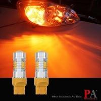 PA LED 2pcs X LED CAR Stop Brake Light Bulb 21SMD 2835 LED Yellow Amber Color
