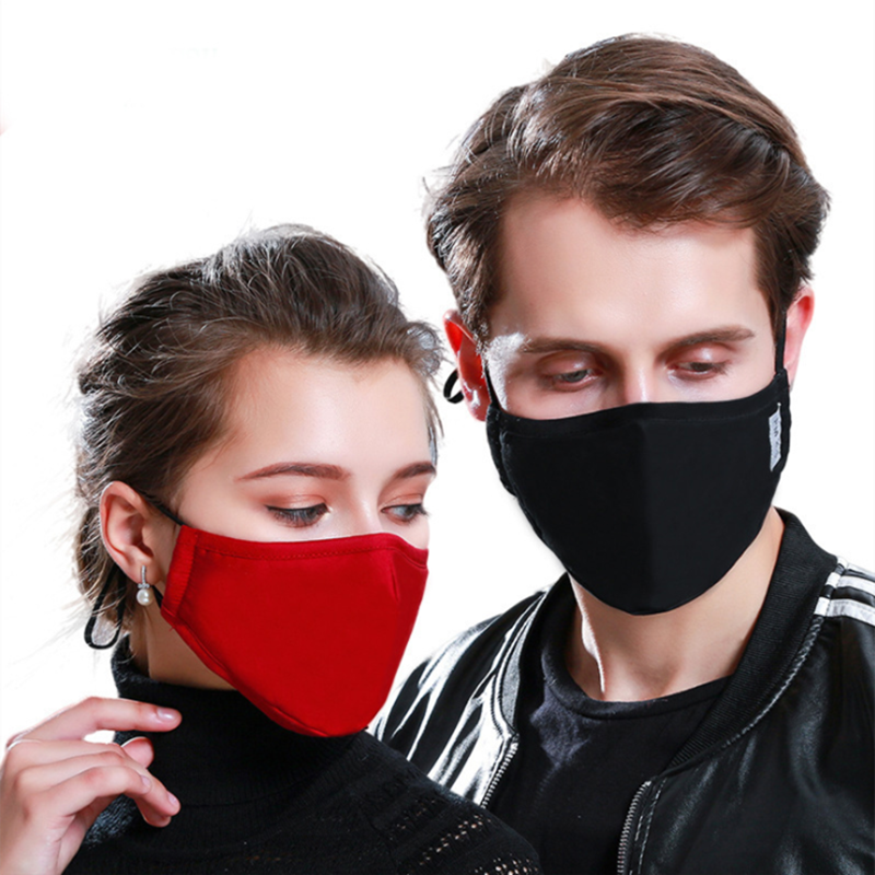 PM2.5 Cotton Mouth Mask Anti-Dust Cloth Mask Respirator With 6 Filter Cloth Anti Dust Black Mask Available