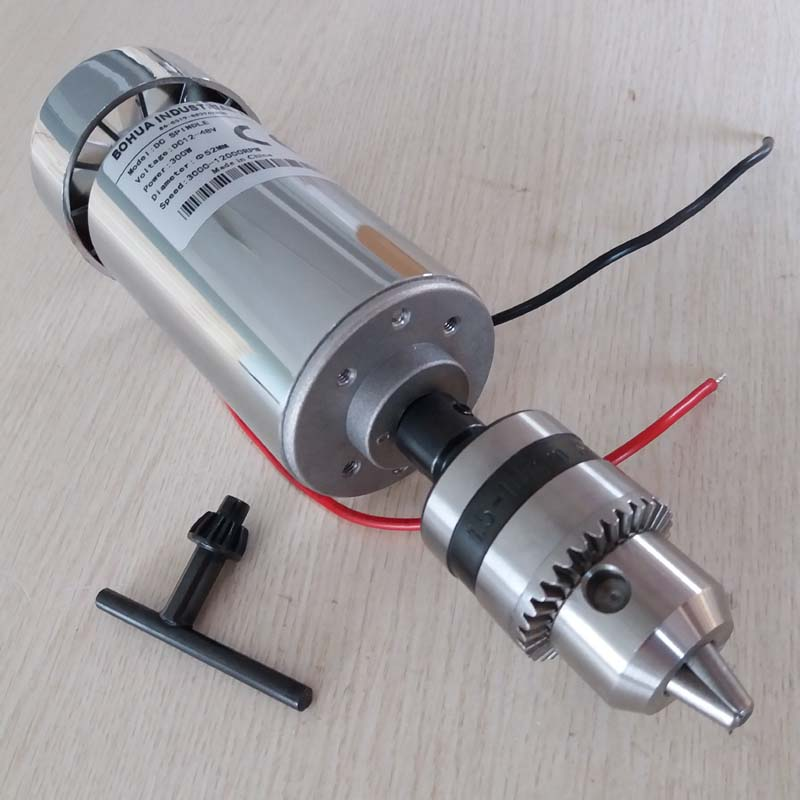 300W DC Spindle Motor , DC12-48V 12000rpm, Engraving Milling Grind Air-cooling Long Mouth Tightening 1.5mm - 10mmspindle Motor