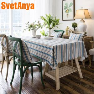Svetanya Waterproof Tablecloth Cotton Linen Table Cover