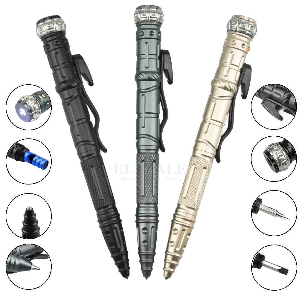 NEW 8-In-1 Multi-Function Self Defense Tactical Pen Outdoor Survival EDC Tool With Emergency Led Light Whistle Glass Breaker new multi tool tactical pen self defense weapon glass breaker with compass knife tungsten steel head for emergency survival kit