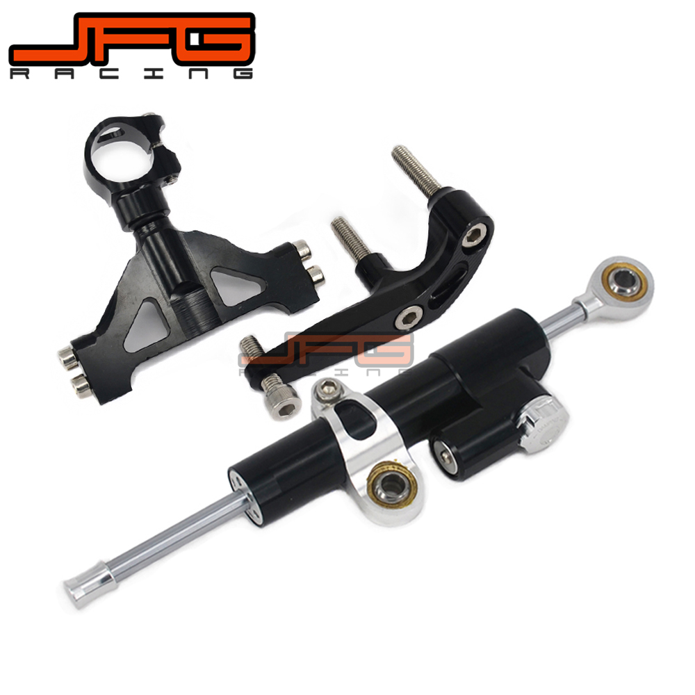 CNC Steering Damper Stabilizer Linear Reversed Safety Control & Adapter Bracket For KAWASAKI ZX14R ZX-14R 2006 2007 2008 -2015 cnc steering damper stabilizer linear reversed safety control & adapter bracket for honda cb400 cb 400 vtec 1999 2000 2001 2012