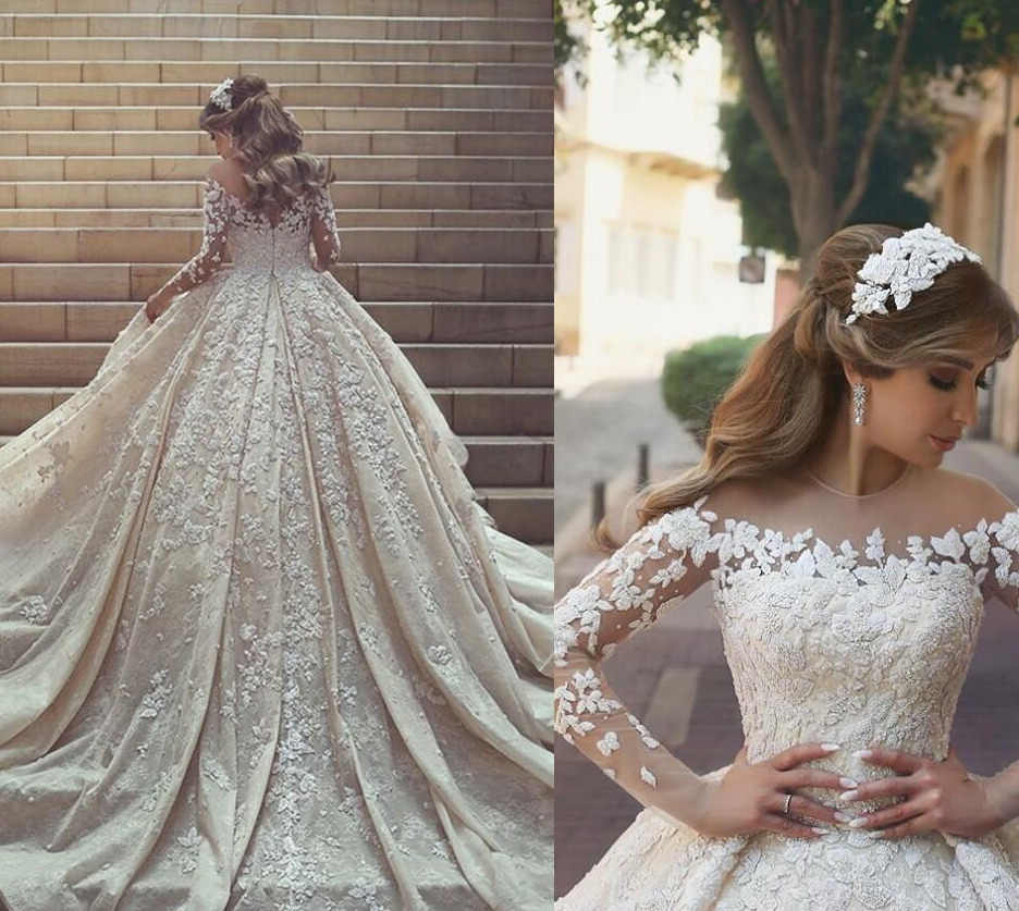 Beautiful Princess Wedding Dresses Special Star Lace Appliques