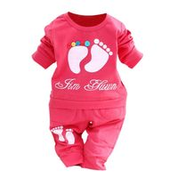 2017 New Style Baby Girls Boys Cute Clothes Set Kids Fashion Long Sleeve Letter Print Feet Pattern Tops + Pants 2 Pcs Set