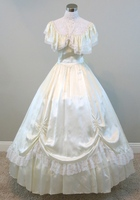 Ivory Ball Gown Civil War Costume Renaissance Dress Satin Dres