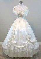 Ivory Ball Gown Civil war costume renaissance dress satin dres