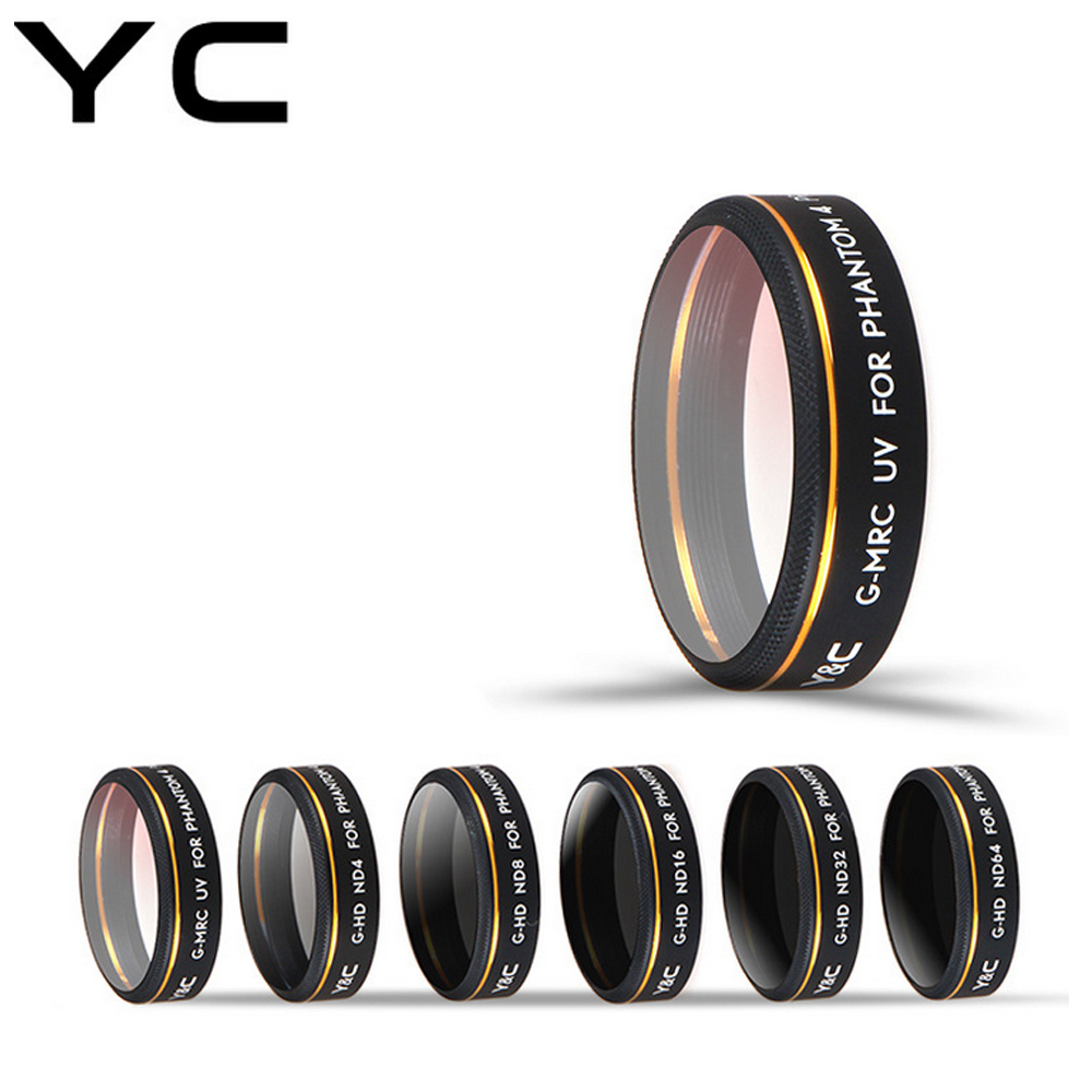 YC Lens Filters UV ND4 ND8 ND16 ND32 ND64 CPL HD Filter Set for DJI Phantom 4 PRO Drone Quadcopter Accessories