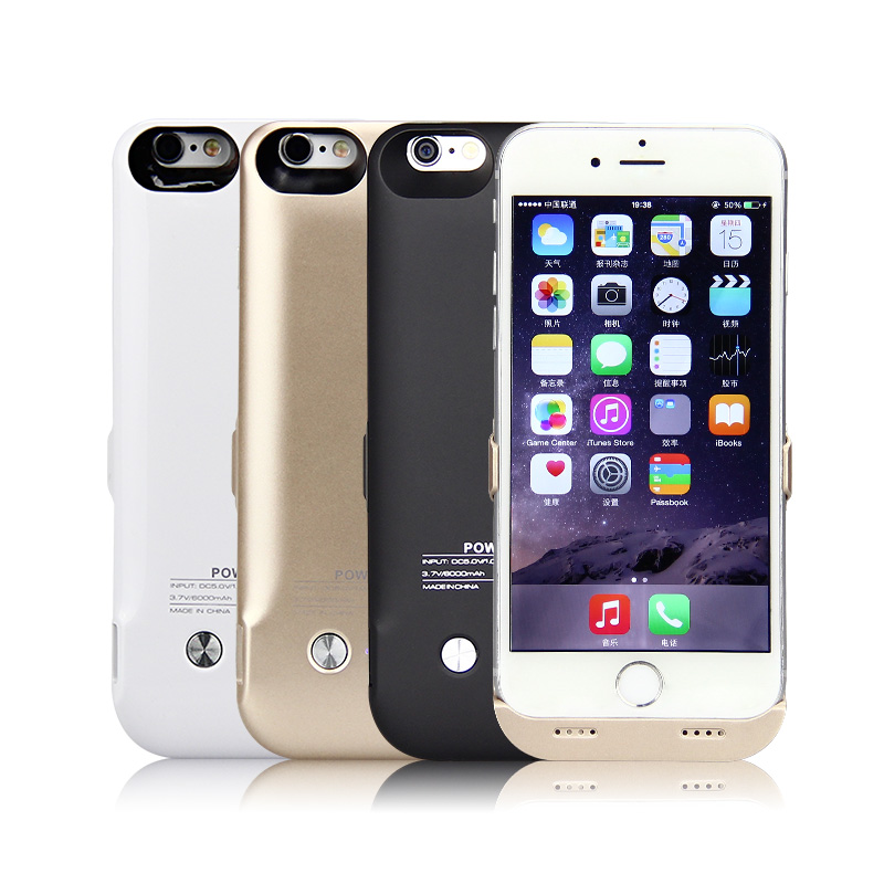 6000/8200mAh External Power Bank Battery Backup Charger Case Cover Pack for iPhone 6 6plus 6s Plus with glass film