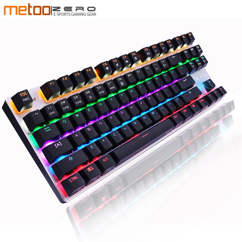 Metoo ZERO USB Wired Ergonomic LCD Backlit Mechanical Gaming Keyboard N-key Rollover Black/Red/Blue Switch Russian Spanish