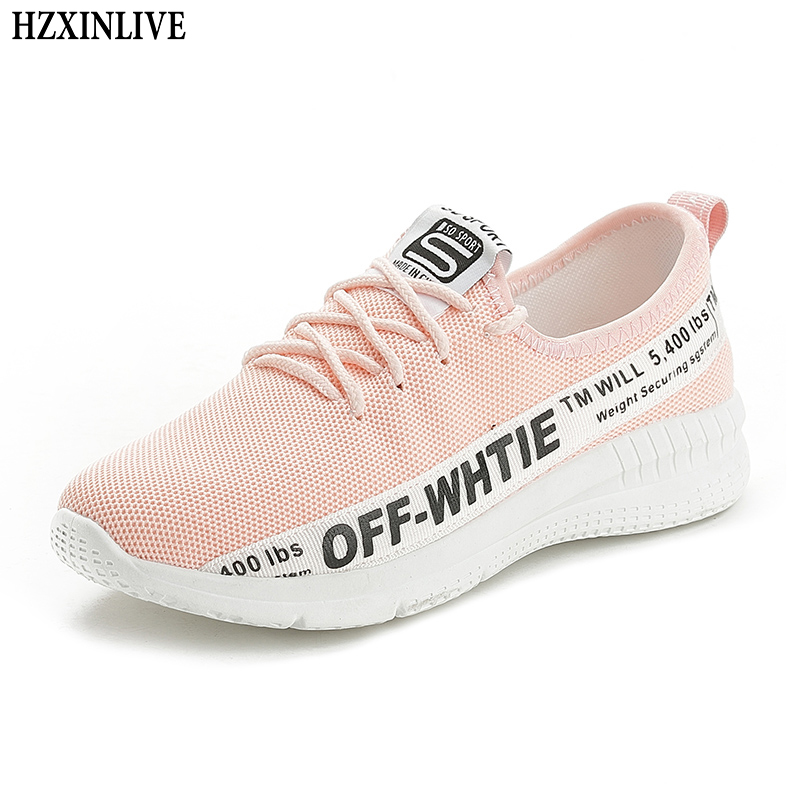 HZXINLIVE 2018 Femmes Sneakers Vulcanisé Chaussures Dames Lettre Casual Chaussures de Marche Respirant Maille Chaussures Plates tenis feminino D02