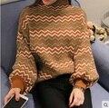 Зима женщины негабаритных кашемировые свитера и пуловеры тянуть роковой водолазка свободного покроя свитер вязаный девушки любовник пушистый пуловер