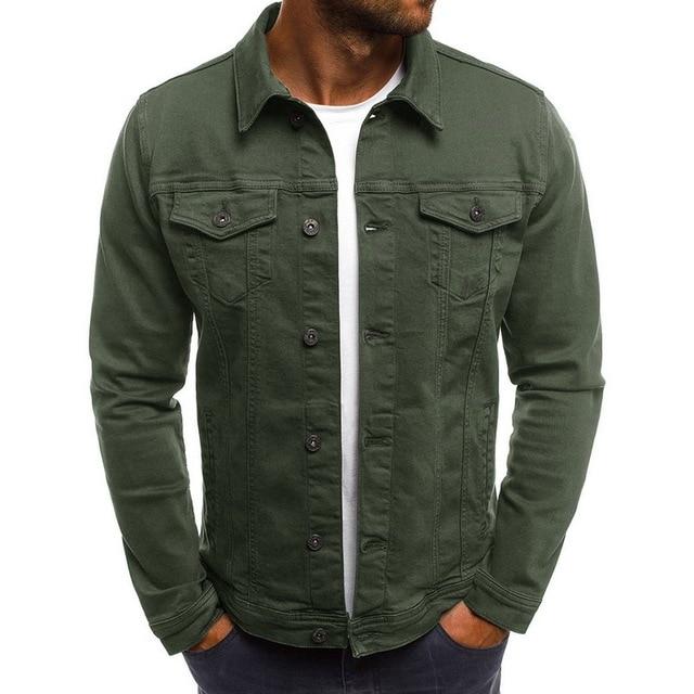 2019 Solid Color Jeans Jackets Denim Jacket Men Fashion Autumn Slim Jackets Mens Casual Denim Coats Turn-down Collar Streetwear 1