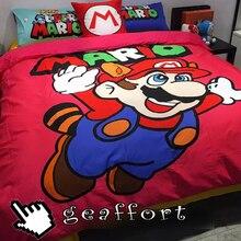 2016 #0027 home decoration textile cotton 3-4pcs super mario cartoon printed bedding set bed sheet duvet cover