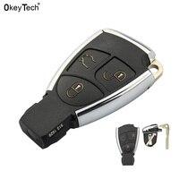 Okeytech 새로운 크롬 스타일 수정 된 3 버튼 원격 자동차 키 셸 케이스 메르세데스 벤츠 cls clk ml c e s 배터리 홀더