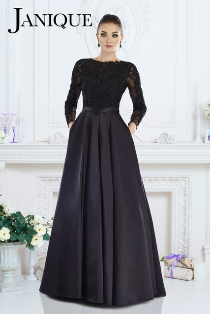 Janique 7516B 2016 Black Lace long Sleeve Ball Gown Mother Of Bride ...
