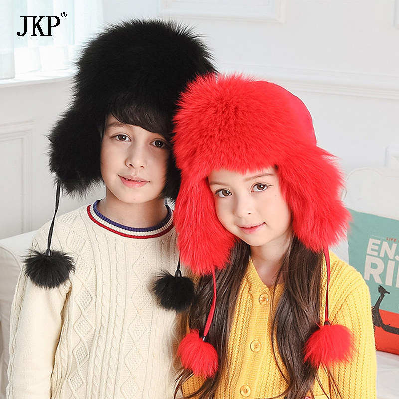 Child Real Raccoon Fur Hat Boys Girls Warm Fox Fur hat Cap Baby Natural Fur Hats For Kids Children Hat 2016 children real rabbit fur hats boy girl winter warm solid hat for kids child ear hat lei feng unises red black cap qmh06