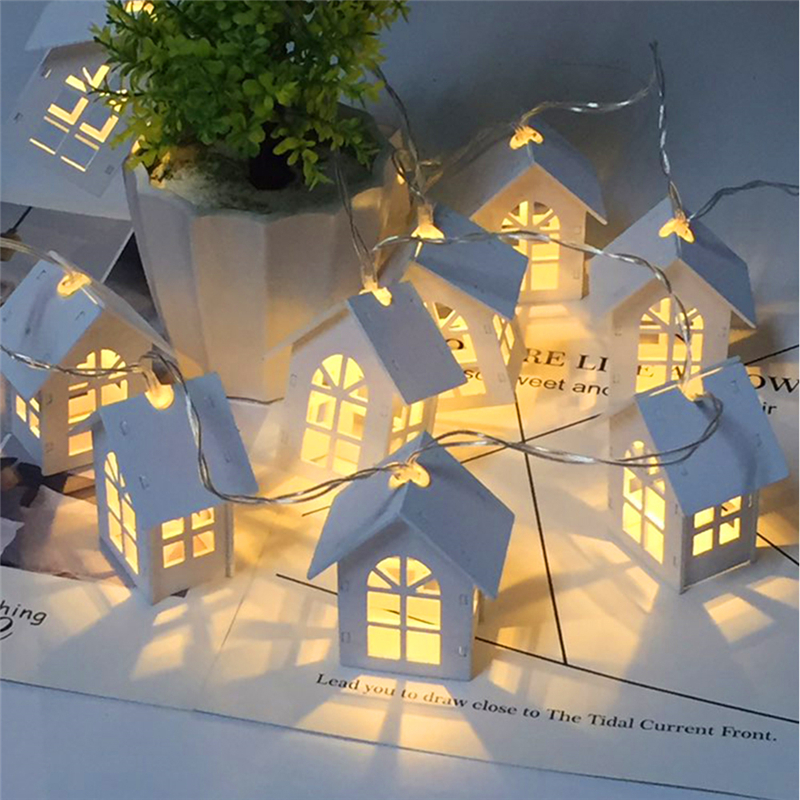 Us 6 6 Doxa 1pc 1 5m Garland Wood House Led String String Lamp Wedding Christmas Holiday Party Light Novelty Fairy Lamps Room Decor Hot In Led