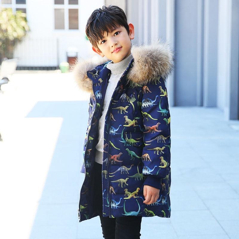 2018 Boys Winter Jackets Dinosaur Print Children Duck Down Parka Coat 2-8Y Kids Hooded Warm Clothes Baby Down Outwear Fur Collar все цены