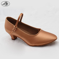 Dancesport Shoes 501E Classic Style Girls Ballroom Dance Shoes Modern Dance Shoe High Quality Satin Tan