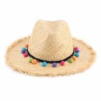 Kobiety Lato Słomkowy Kapelusz Panama Kapelusze Przeciwsłoneczne Kolorowe Tassel Piłki Panie Naturalne Riffia Sunhat Sombreros Mujer Verano