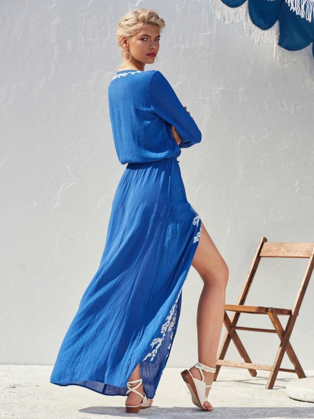 Vacances Broderie 2019 Conduites Nouveau Élégante Coton Robe Bleu Chic Longues Taille Manches Floral Carburant Stretch À Maxi cou De Boho V 1g1Scq