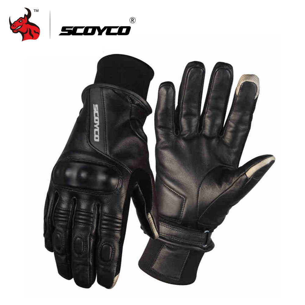 Xxl black leather gloves - Scoyco Leather Motorcycle Riding Gloves Motocross Full Finger Long Cycling Racing Guantes Moto Luvas Da Motocicleta