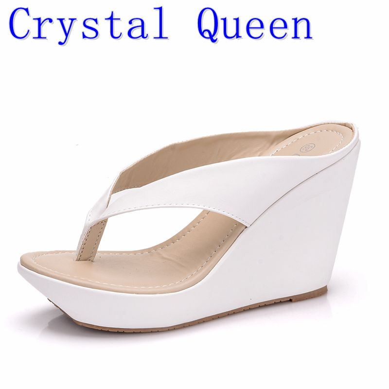 Crystal Queen Women Summer High Heel Slippers Platform Sandals Ladies Wedges Sandals Brand Flip Flops Shoes Women Beach Slippers senza fretta summer women indoor flip flops high heel flowers slippers thick beach flip flops sandals wedges platform slippers