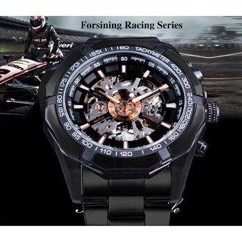 Racing Sport Clock Fashion - Black Stainless Steel Black Mechanical Watch