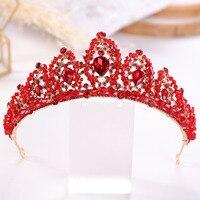 Свадебные Стразы в стиле барокко, диадема, головной убор с красными кристаллами, диадемы и короны Noiva, винтажные Свадебные украшения для вол...