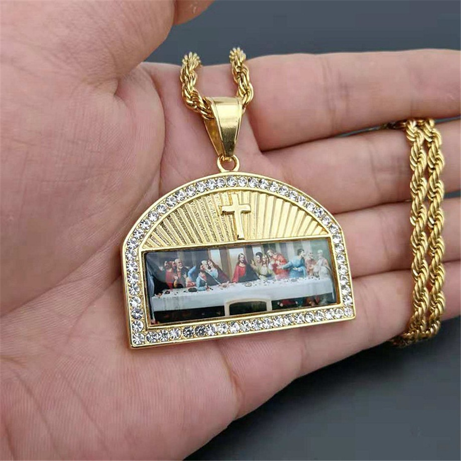 Iced Out The Last Supper Pendant Necklace Male Gold Color Stainless Steel Cross Necklaces For Men Religious Jewelry