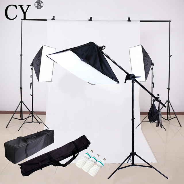 cy photography continuous lighting kits softbox daylight boom arm