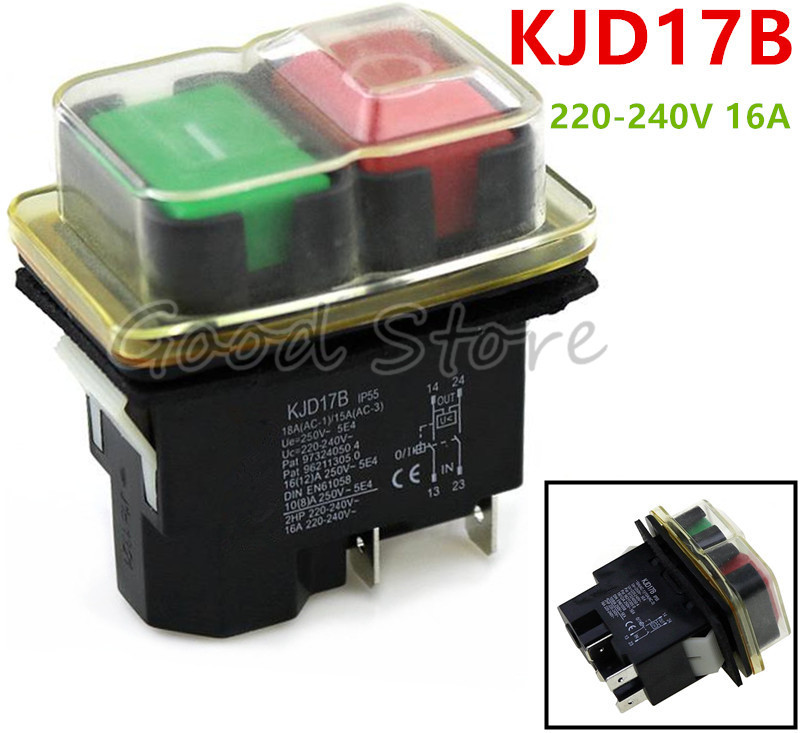 1PCS 220 240V 16A Electromagnetic Pushbutton Safety Switch for Gardening Machine For font b Electronic b