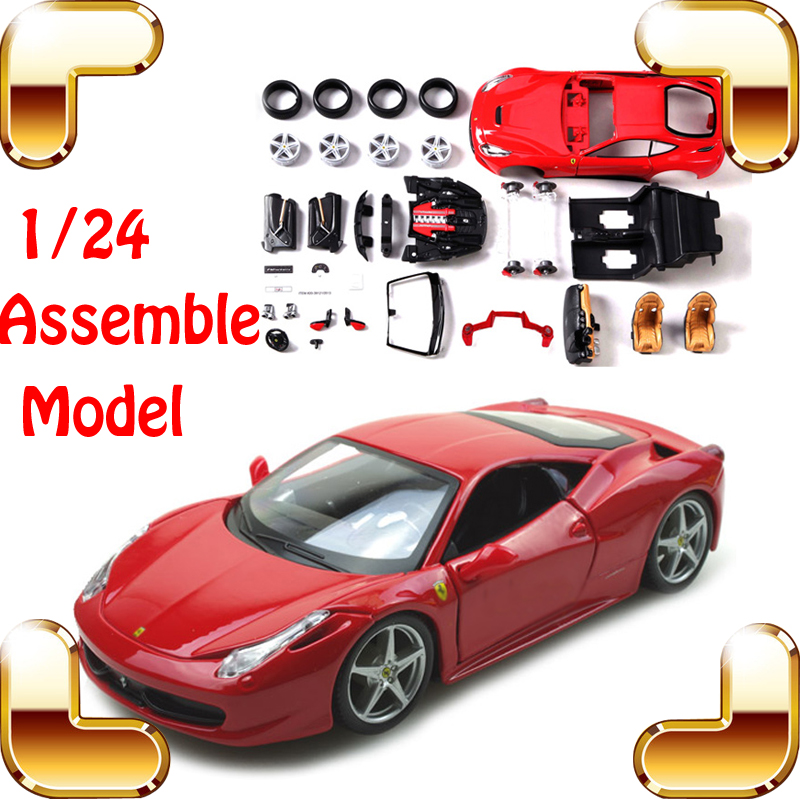 New Year Gift 458 F12 EN 1/24 DIY Metal Model Car Roadster Vehicle Model Scale Toys IQ Game Family Work Simulation Toy