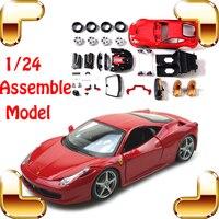 Presente de Ano novo 458 F12 EN 1/24 DIY Modelo De Carro de Metal Roadster Modelo Do Veículo Escala Brinquedos IQ Jogo Da Família Brinquedo de Simulação de Trabalho