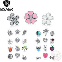 BISAER 925 Sterling Silver Box Original Petite Memories Tropic Family Forever Petite Charm for Necklace Tiny Small DIY Charms(China)