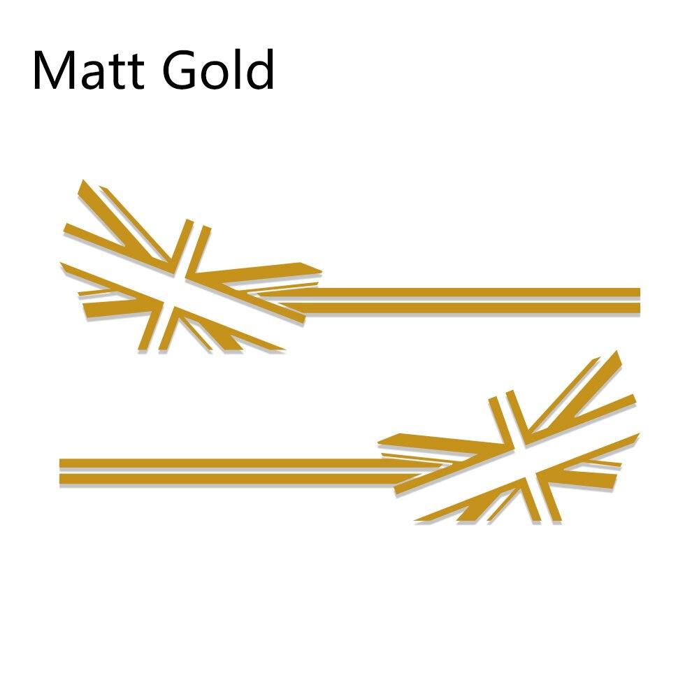 2 шт. автомобиль Стикеры флаг Стиль сбоку нашивки наклейки для Mini Cooper R56 R57 R58 R50 R52 R53 R59 R61 R60 F60 F55 F56 F54 аксессуары - Название цвета: Matt Gold