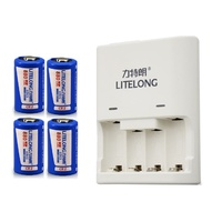 4pcs 880mAh 3v CR2 rechargeable LiFePO4 battery lithium battery+1pcs Dedicated charger