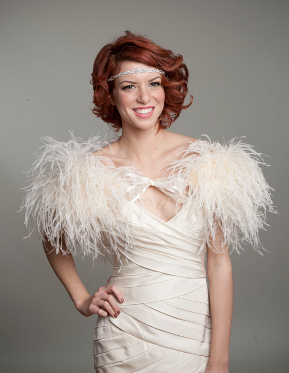 As seen in the knot ostrich feather toss mini cape for Wedding dress with ostrich feathers